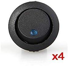 4 x Interruptor Indicador Luz Azul 16mm para Coche Auto