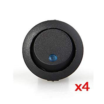 4 x Interruptor Indicador Luz Azul 16mm Coche Auto