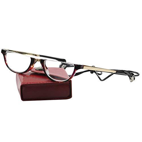 HLILY Halbrand Lesebrille Kompaktes Falten Schlüsselband Lesehilfen Nimm Es Mit Hyperopie-Brille Unisex, mit Etui