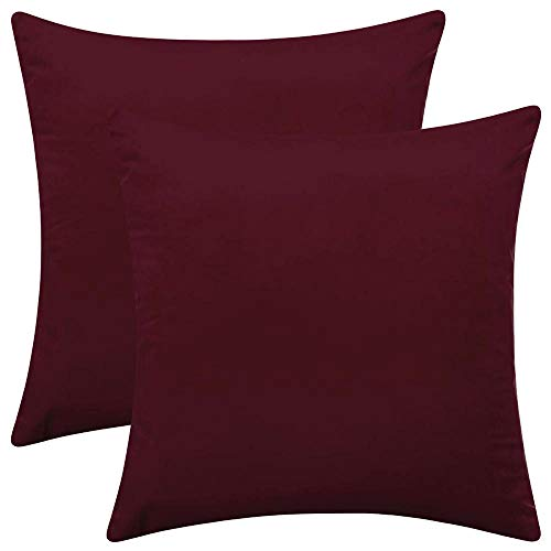 Rythome Set of 2 Comfortable Velvet Throw Pillow Cases, Decorative Solid Cushion Covers for Sofa Couch and Bed - 18'x18', Burgundy