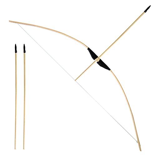 Bambus Bogenschießen Set 1x 1m langer Bambusbogen und 3x 53cm lange Gummispitz-Pfeile für Kinder ab 6 Jahre und Jugendliche - Indoor Outdoor Spielzeug Jugendbogen Standard Bogen-Set (1x Standard Set)