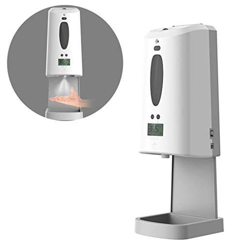 Termómetro infrarrojo de pared,dispensador automático de desinfectante de manos con escáner de temperatura corporal, capacidad de 1300 ml dispensador de desinfectante,para oficinas, hogares, tiendas