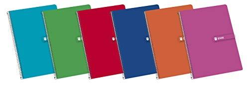 Enri 100430069 Cuaderno espiral, Tapa dura, 80 hojas, Paquete de 5, Colores surtidos, Formato Fº