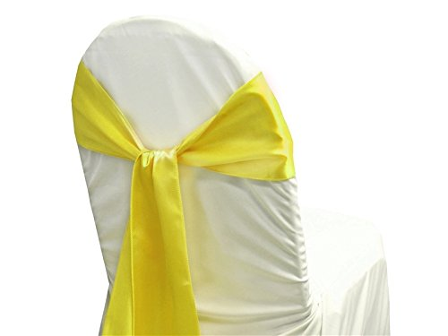 OWS Set of 150 satin chair sashes bow for wedding and Events Supplies Party Decoration chair cover sash - Lemon Yellow