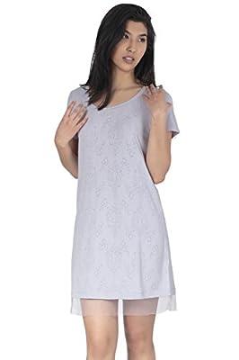 Jones New York Women's Short Sleeve with Mesh Trim Nightshirt (Medium) from Jones New York