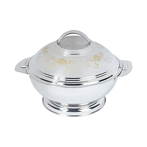 TRI Thermo-Servierschüssel, Thermobehälter Isolierbehälter mit Deckel für kalte & warme Speisen, Edelstahl, 2 l, silber gold