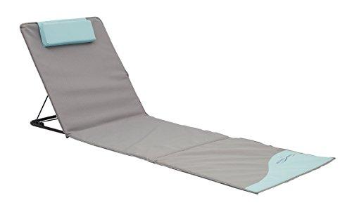 Strandmatte Strandliege XXL grau/blau gepolstert mit Schirm, 200 x 60 x 3 cm, 74037
