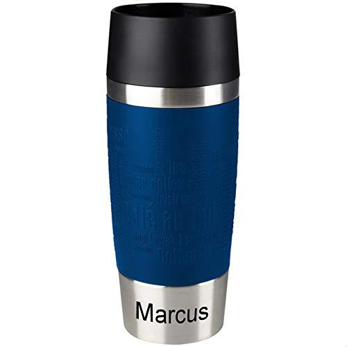 Emsa Isolierbecher MIT Gravur (z.B. Namen) 360ml TRAVEL Mug Blau mit persönlicher Rundgravur, Travelmug Kaffee & Tee Thermo to-go-Becher mit Quick Press Verschluss 100% auslaufsicher