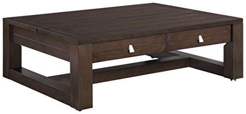 Signature Design by Ashley Tariland Rect Lift Top Cocktail Table, Dark Grayish Brown