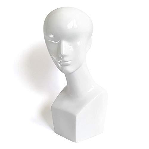 Perücke Herren Kopf Modell Weiß Dummy Kopf Display Perücke Haarteil Brille Modell Kopf Requisiten Halterung,50cm