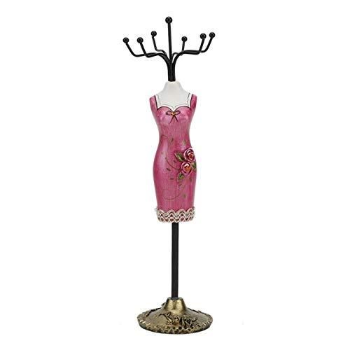 Betued Schmuckständer, Metallschmuck Display, Halskette mit Gestell, Ohrring, hängender Halter, Armbandregal für die Schmucksammlung und Charm(Rose rot)