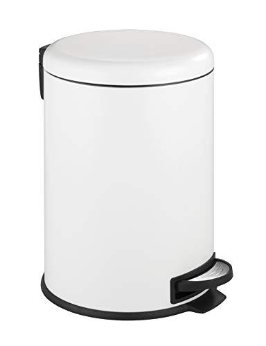 WENKO Treteimer Leman Easy Close Weiß 20 L - Kosmetikeimer, Mülleimer mit Absenkautomatik Fassungsvermögen: 20 l, Stahl, 30.5 x 44 x 37.5 cm, Weiß