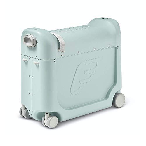 JetKids by Stokke BedBox, Green Aurora - Kid's Ride-On Suitcase & In-Flight Bed - Help Your Child Relax & Sleep on the Plane -...