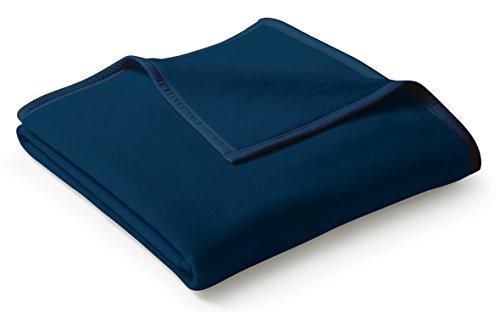 biederlack® flauschig-weiche Kuschel-Decke aus Baumwolle und dralon® I Made in Germany I Öko-Tex Made in Green I nachhaltig produziert I einfarbige Wohn-Decke Cotton Uni - Dunkel-blau in 150x200 cm