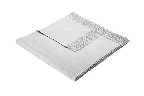 Biederlack Sesselschoner, 60 % Baumwolle, Mit Fransen, 50 x 200 cm, Silbergrau, Cotton Cover Silber, 562647