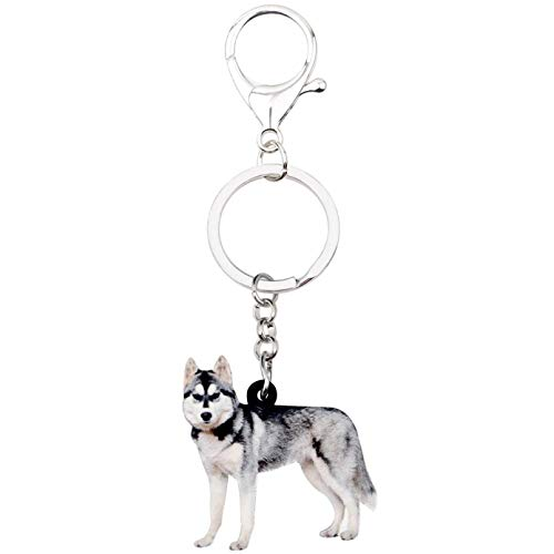 SHUHUI Acrylic Siberian Husky Dog Key Chains Keychain Rings Novelty Gift For Women Girl Ladies Handbag Car Charms Animal Jewelry