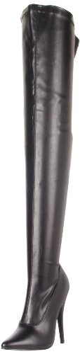 Devious Women's 6 Inch Plain Stretch Thigh Boot, Side Zip (Black Pu;15)