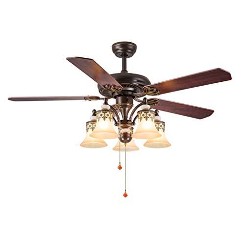 Deckenventilator mit Beleuchtung Amerikanisches Deckenventilator Licht Splint Blatt FernsteuerungsE27 mit Positiv- und Negativ-Wind-Lampen for Haus Wohnzimmer Deckenventilator für Wohnzimmer Schlafzim