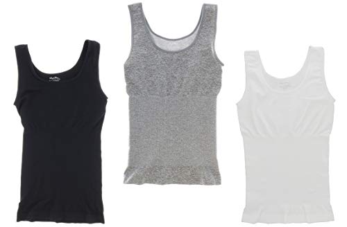 Marilyn Monroe Intimates Seamless Body Shaping Cami Wide Strap Tank Top (3Pc) (Large, Black, White, Grey)