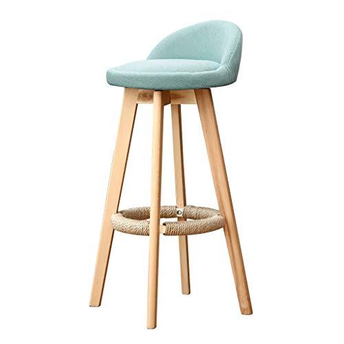 Chairs Drehbarer Barhocker, Moderne Massivholzhocker, Ergonomisch gestaltete Rückenlehnenstühle, Restaurant, Büro, Theke, Familie (Farbe : Mint Green, größe : 73cm)