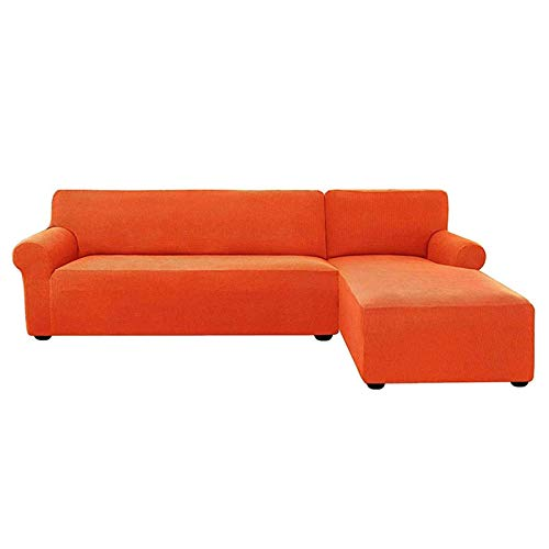 Jonist Stretch Sectional Couch Covers, Soft L-Shaped Sofa Slipcovers with Elastic Bottom Jacquard Chaise Lounge Set for Living Room 2 Seat Protector-Orange-Right Chaise(3Seat)