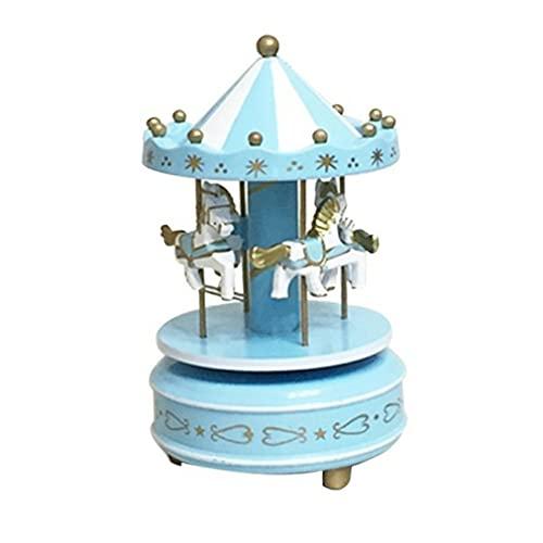 POO Tiovivo Caja de música Decoración Regalo de cumpleaños Boutique para niños Juguete Azul Blanco