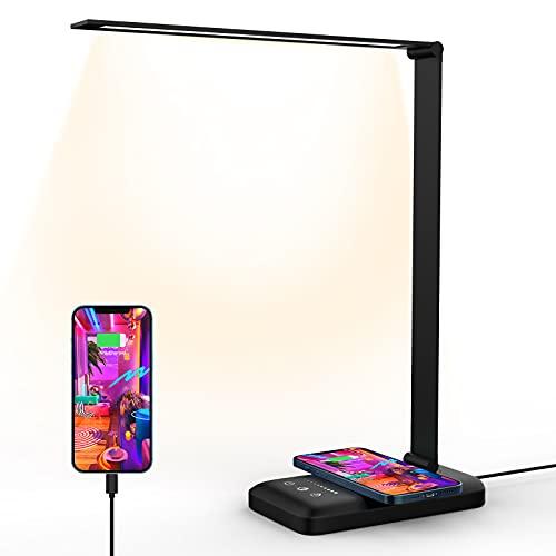 Lámpara de escritorio LED, lámpara de mesa con carga inalámbrica, lámpara de Escritorio con Control táctil, 10 Niveles de Luminosidad 5 Modos, Lámpara Plegable Negra [Classe energética A++] (nero)