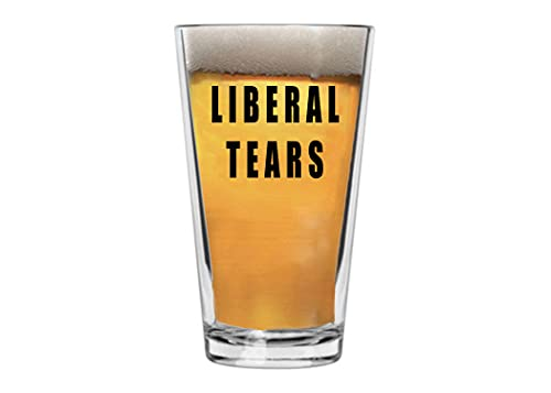 Funny Joke Liberal Tears Beer Glass Drinking Cup Pint 16oz Pub Gift Idea for Conservative or Republican