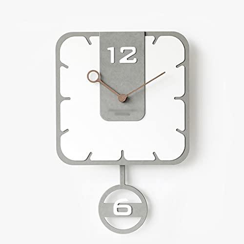 HEKRW Reloj de péndulo nórdico, Mecanismo de Reloj de Pared, Relojes de Pared, decoración del hogar, Dormitorio, hogar, Columpio silencioso, Mural Blanco, decoración del hogar