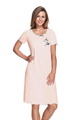 e.FEMME® Damen Nachthemd 807 aus Baumwolle und Modal, Lachs, Gr. 46