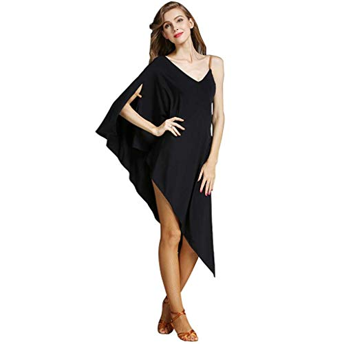 Prctica De Baile Latino Estilo Murcilago Vestidos Para Mujer Sling  Baile Latino Profesional Falda Escenario Disfraz Disfraz (Color : Black, Size : XL)