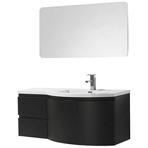 Badmöbel Set LAURANCE 1200 Schwarz matt - geschwungene Form, Spiegel:Ohne Spiegel, Ausführung:Waschbecken RECHTS