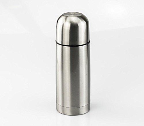 Borraccia isotermica, mantiene a lungo la temperatura dei liquidi caldi e freddi - capacità 350ml - bicchiere in dotazione - acciaio inox - finitura acciaio opaco