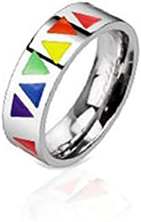 BodyJ4You Ring Pride Rainbow Multicolor Stainless Steel Men Women Unisex Wedding Band