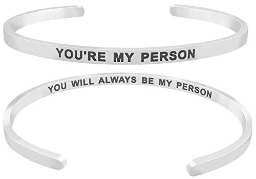 'You're My Person You Will Always Be My Person'' Friends Quote Mantra Inspirational Friendship Love Cuff Bracelet, Jewelry Gifts for Best Friends, BFF Besties (Silver Tone)