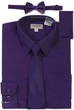 Gioberti Boy s Long Sleeve Dress Shirt with Zippered Tie Bow Tie and Handkerchief Set Purple product image