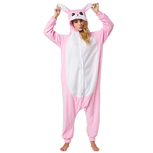 Trajes De Una Pieza Cosplay Pijamas Enteros Adulto Ropa De Dormir Conejo Rosa Carnaval Camisones Fiesta De Disfraces Halloween Pijamas Navidad Ropa De Casa Mujer