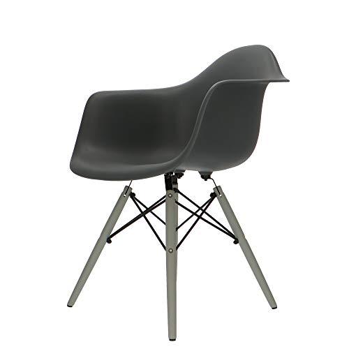 Popfurniture POP Designer Stuhl DAW mit Armlehne und graue Beine - Esszimmerstuhl, Wohnzimmerstuhl, Bürostuhl, Retro Stuhl aus Kunststoff und Ahornholz | 63 x 60 x 82 cm | Anthrazit