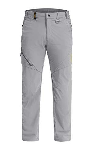 LASIUMIAT Men's Outdoor Hiking Casual Pants with Elastic Waist, Light Grey, 34