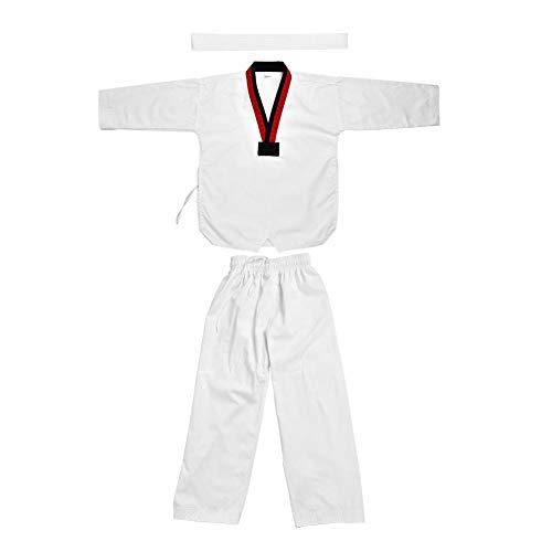 Alomejor Taekwondo Uniform Full Cotton Long Sleeves met witte riem Karate kostuum voor volwassenen en kinderen
