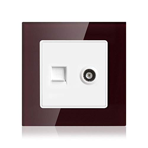 Enchufe/Tomacorriente Para Computadora Y Tv De Pared 2gang, Sin Adaptador De Enchufe Panel De Vidrio Templado De Cristal 86 Mm * 86 Mm-Vino Tinto