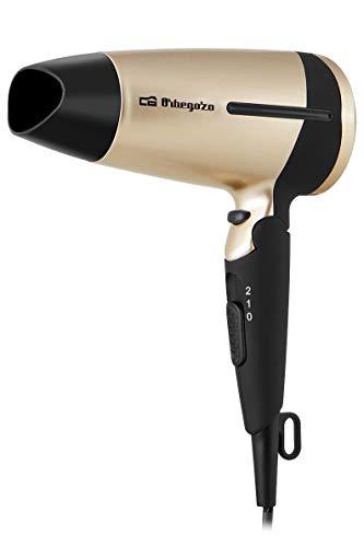 Orbegozo SE 1600 - Secador de pelo plegable, 2 velocidades, 2 niveles de temperatura, botón de aire frío, concentrador y difusor, 1600 W