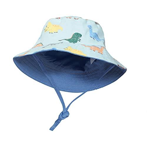 Sombrero de verano de algodón para bebé y bebé, con UPF 50, sombrero de playa para niños y niñas dinosaurios - Azul - 6-12 meses