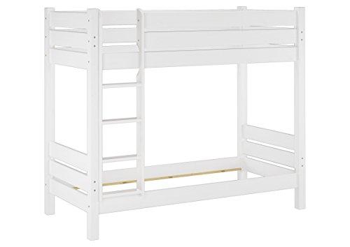 Erst-Holz® Etagenbett extra stabil 100x200 Nische 100 Kiefer-Hochbett weiß ohne Zubehör 60.16-10WoR
