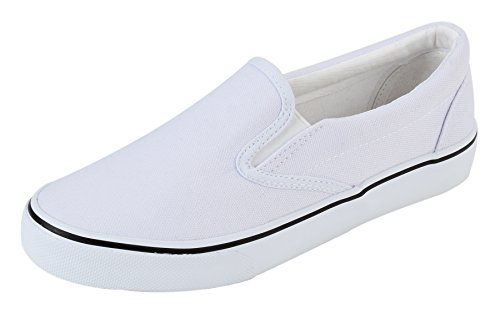 UJoowalk Womens White Comfortable Casual Canvas Slip On Fashion Sneakers Loafers Walking Skate Shoes - Size 7.5