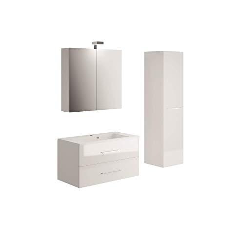 Allibert Badmöbel Set Unterschrank 90 cm Waschtisch Spiegelschrank Seitenschrank vormontiert