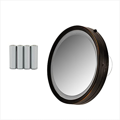 Ovente Wall Mount Lighted Magnifying Makeup Mirror 6 Inch 8X Magnifier Strong Suction Cup Bright LED Personal Bathroom Compact Desk Home Travel Circle Small Battery Operated Oil Rubbed Bronze MLI25BZ