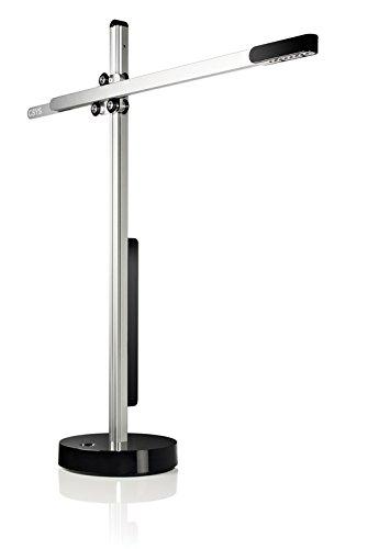 Jake Dyson Csys Task LED tafellamp, zilver - zwart, met sensordimmer, dyson, met draaibare sokkel, in hoogte verstelbaar, Baukran LED-lamp, Black - Silver