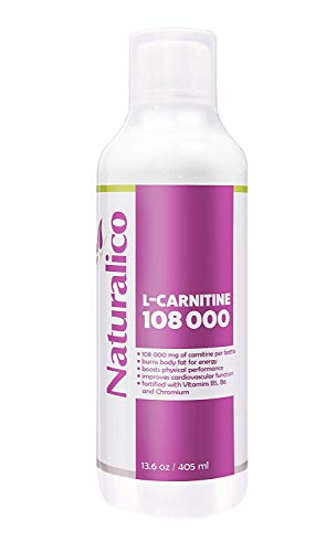 Naturalico L-Carnitine 4,000mg | with Vitamin B5, B6 and Chromium | Burns Body Fat for Energy | Improves Cardiovascular Function | USA Made | GMO Free | Fast Absorbable | 405ml for 27 Servings