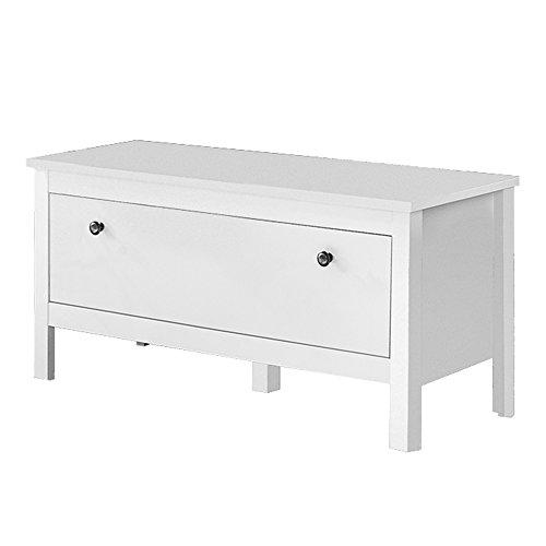 trendteam smart living  Garderobe Sitzbank Schrank Schuhschrank Ole, 91 x 45 x 35 cm in Weiß mit viel Stauraum